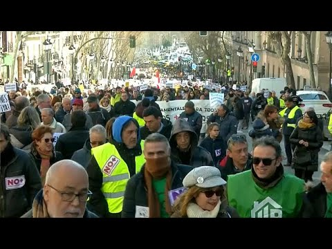 Στους δρόμους της Μαδρίτης συνταξιούχοι και οδηγοί ταξί…