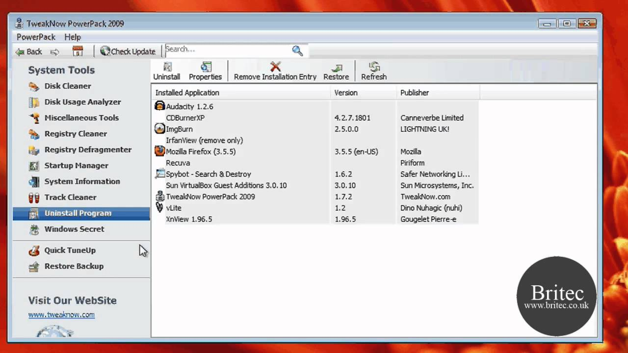 TweakNow PowerPack 2009 – Tweaking Tools For Windows XP, Vista and 7 by Britec