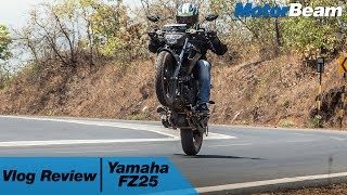 https://www.motorbeam.com road tests the Yamaha FZ25 and reviews it in a vlog style to see how it fares in the urban jungle. The quarter-litre motorcycle has been much praised but how practical is it? The mileage of the Yamaha FZ25 was tested in real world conditions while we also road tested the bike using our VBOX to get its performance numbers.The Yamaha FZ25 competes with the KTM Duke 200 and Duke 250, Pulsar NS 200 and TVS Apache 200. The FZ25 doesn't get ABS but is priced aggressively and makes for a good upgrade for FZ16 owners.Become a #MotorBeamer: http://bit.ly/MotorBeamerVisit our website: https://www.motorbeam.comLike us on Facebook: https://www.facebook.com/MotorBeamFollow us on Instagram: http://instagram.com/MotorBeamAdd us on Snapchat: https://www.snapchat.com/add/MotorBeamFollow us on Twitter: https://twitter.com/MotorBeamCheck us out on Pinterest: https://www.pinterest.com/motorbeam+1 us on Google Plus: https://plus.google.com/+motorbeamMusic Credits - Vanilla (Original mix) by Meluran licensed under Creative Commonshttps://creativecommons.org/licenses/by/3.0/