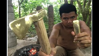Video Primitive Technology: Furnace and casting copper axe  beautiful (ax, chisel) MP3, 3GP, MP4, WEBM, AVI, FLV November 2018
