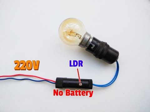 How To Make 220V Automatic ON/OFF Light Circuit..No Battery..Simple Dark Sensor Circuit..