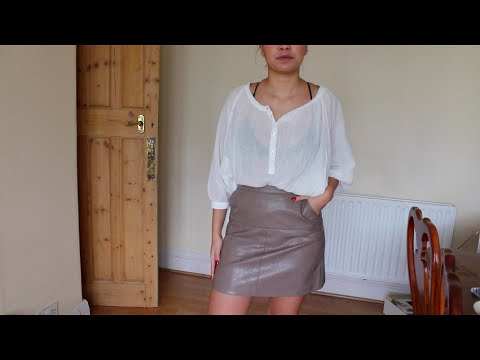 OOTD Nude Leather Skirt
