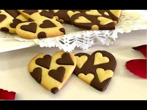 biscotti cuore bicolore per san valentino . la video ricetta