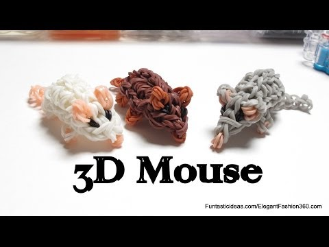 Rainbow Loom Mini Mouse/Hamster 3D Figures/charms – How to – 3D Animal Series