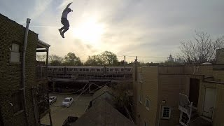 Epic Roof Jump Recorded On GoPro
