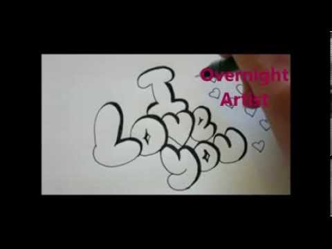 How To Write I Love You Cool Bubble Graffiti Letters