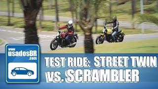 Confira o comparativo completo da Ducati Scrambler e Triumph Street Twin, os modelos estilosos que também se mostraram prazerosas de pilotar. Neste test rider, o piloto Rossi Junior convida o piloto Salvador Amaral, para opinar sobre a ciclística e design dos modelos . INSCREVA-SE: http://www.youtube.com/usadosbrREALIZAÇÃO:UsadosBRPRODUÇÃO E APRESENTAÇÃO:Layane PalharesIMAGENS, EDIÇÃO E FINALIZAÇÃO:Vanessa GoveiaSITE:www.usadosbr.comREDES SOCIAIS:Facebook: http://www.facebook.com/usadosbrTwitter: http://www.twitter.com/usadosbrInstagram: http://www.instagram.com/usadosbr