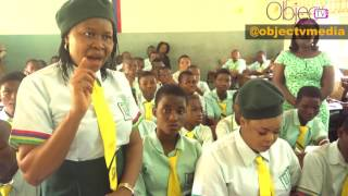 """To mark her birthday, 2017, internationally acknowledged activist and Woman of Courage, Dr. Joe Okei-Odumakin wears school uniform with NollyWood celebrity, Dayo Amusa on a visit to Babs Fafunwa Millenium Secondary School, Ojodu, Lagos.She themed the outing """"Hope Restored""""."""