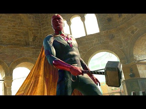 Vision Lifts Thor's Hammer - Thor and Vision vs Ultron - Avengers: Age of Ultron - Movie Clip HD