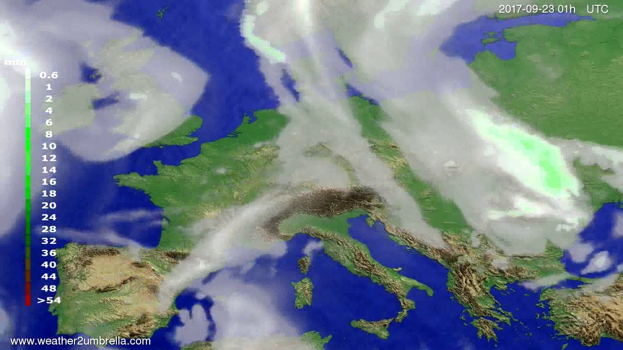 Precipitation forecast Europe 2017-09-20