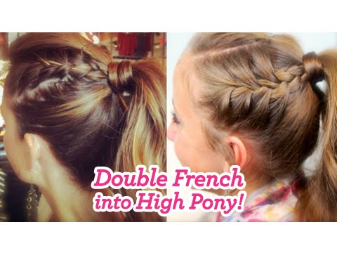 Double French into High Pony | Cute Girls Hairstyles