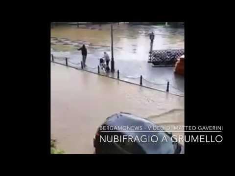 Nubifragio a Grumello: allagata la piazza
