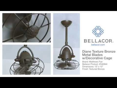 Video for Atlas Fan Diane Textured Bronze Ceiling Fan with Metal Blades