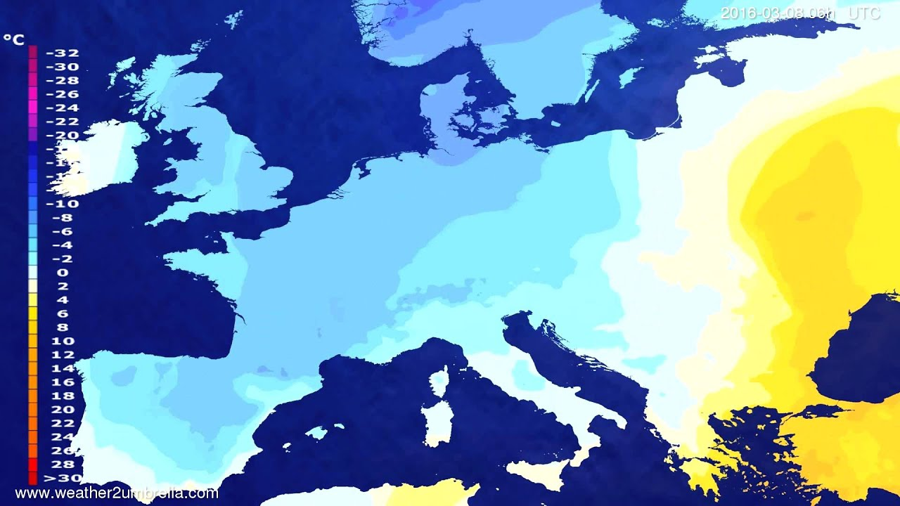 Temperature forecast Europe 2016-03-05
