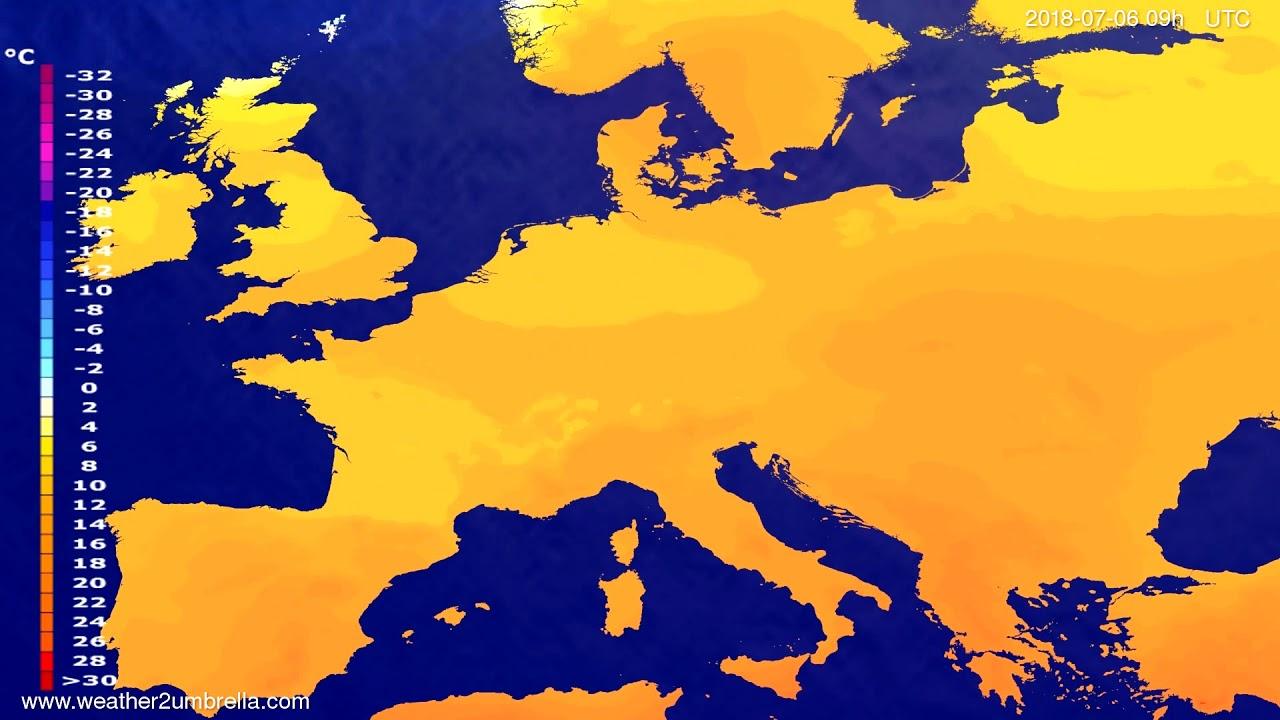 Temperature forecast Europe 2018-07-04
