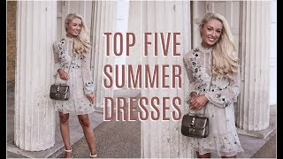 Here are 5 of my favourite Summer Dresses all under £100!! You could wear these outfits to work, to the park or maybe to lunch... Links in the description box below!Subscribe so you don't miss any videos :) http://bit.ly/1zG3soB________________________________________­___________________ ❤ What I Wore ❤White Bardot Top - http://bit.ly/2s3g9XD OUTFIT ONEWhite Midi Wrap Dress - http://bit.ly/2sk8bxJ Styled with Contrast Toe Cap Heels - http://bit.ly/2pNL1hj OUTFIT TWO Sage Green embroidered dress : http://bit.ly/2sy4X8D Styled with White Block Heel Sandals: http://bit.ly/2tcEhaW OUTFIT THREECream Buttoned down midi dress - http://bit.ly/2sHdpD7 Styled with Tan lace up sandals - http://bit.ly/2rRX6T8 OUTFIT FOUR Pink and White Bardot Dress - http://bit.ly/2tBFl9x Styled with Rose Gold Espadrilles - http://bit.ly/2rmdbx0 OUTFIT FIVEBlue floral jumpsuit: http://bit.ly/2spERWl Styled with white sandal heels http://bit.ly/2tcEhaW OUTFIT SIX White Lace Dress - http://bit.ly/2l8um2q Styled with Pearl Gladiator Sandals - http://bit.ly/2r6mBNM Earrings : http://bit.ly/2ssynTHNecklace : http://bit.ly/2mx7AVuRing : http://bit.ly/2i7GCSCBracelet : http://bit.ly/2mx9K7j________________________________________­___________________ WHERE ELSE TO FIND ME!❤ Blog // http://www.fashionmumblr.com❤ Instagram // https://instagram.com/josieldn/❤ Twitter // https://twitter.com/FashionMumblr❤ Bloglovin // http://bit.ly/1QgW457❤ Facebook // https://www.facebook.com/fashionmumblr❤ Snapchat // JosieLDN________________________________________­___________________ ❤ Get in touch with me here: http://bit.ly/1QCe5xe❤ Filming & Photography Information : http://bit.ly/1K3yPxa❤ How I get my hair colour with L'Oreal Professional :http://bit.ly/2rp5VBI ________________________________________­___________________ ❤  In the Background:Pink Rug : http://bit.ly/2pW9mP7Mirror : http://bit.ly/2qsV7ky________________________________________­___________________ Popular Blog Posts:❤ FAQs ft How to Start a Blog : http://bit.ly/2eowZPH❤ Life as a full time blogger / YouTuber : goo.gl/Y1ceLq❤ Why Every Twenty-Something should Practise Mindfulness : http://bit.ly/2eLr6I6________________________________________­___________________NB : The links above are likely to be affiliate links, which means if I have inspired you to make a purchase and you choose to buy something through one of these links, I may receive a small commission on the sale, as a way of thanks! It makes no difference to you as a buyer at all but I may receive a small compensation from the brand via rewardStyle. If you'd like to find out more, you may like to read this post : http://bit.ly/2rjaGPU xoxo