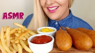 Crispy CORN DOGS and FRENCH FRIES ASMR Eating Sounds *No Talking