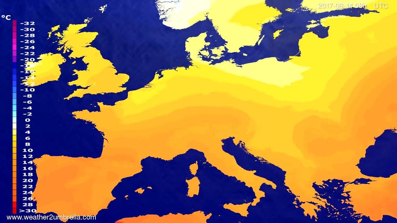 Temperature forecast Europe 2017-08-11