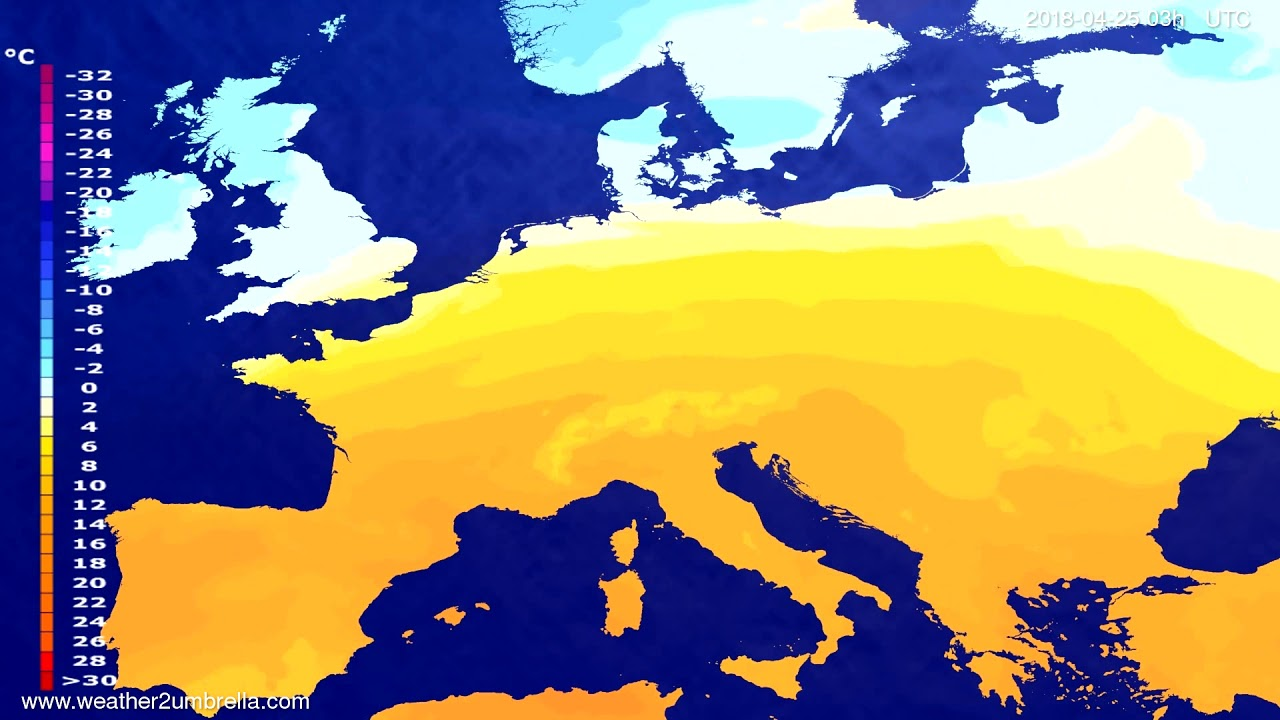 Temperature forecast Europe 2018-04-22