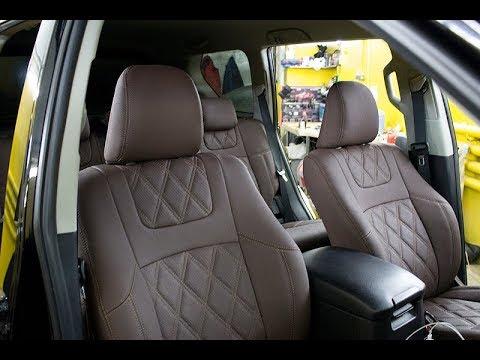 """Чехлы на Toyota Prado 150, серии """"Aurora"""" - серая строчка"""