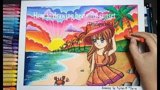 "Download Video How to draw Sun set at the Beach (Beautiful scenery)/ Cara gradasi warna ""pantai "" MP3 3GP MP4"