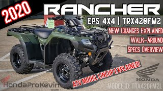 6. 2020 Honda Rancher 420 EPS 4x4 ATV Review of Specs + NEW Changes Explained! | TRX420FM2 Olive