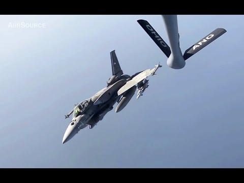 USAF KC-135 Refuels UAE F-16 UAE Block-60 Air Force Anti-Daesh Campaign