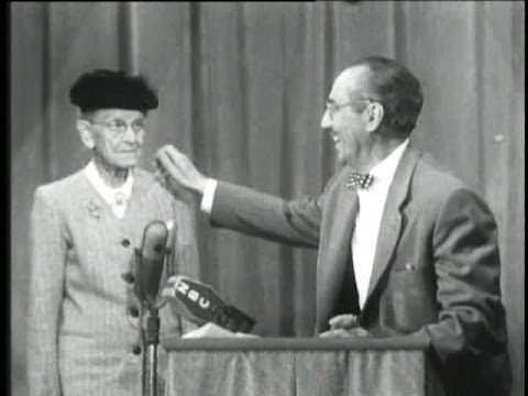 Video You Bet Your Life #53-23 Spunky old lady vs. Groucho (Secret word 'Clock', Feb 18, 1954) download in MP3, 3GP, MP4, WEBM, AVI, FLV January 2017
