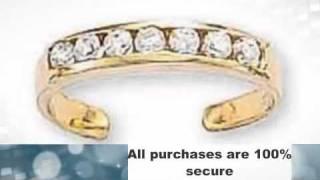 14k Yellow Gold 7 CZ Toe Ring