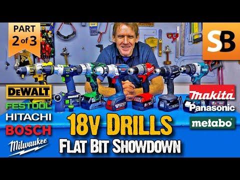 18v Combi Drill Test II Part 2 - Flat Bits