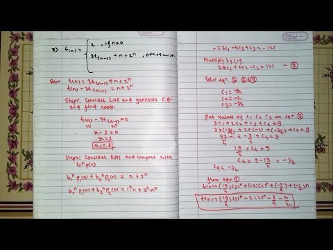 NON Homogeneous Recurrence Relation [Hindi] | DAA | Example 3