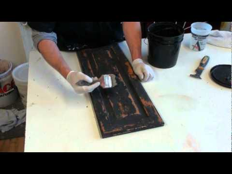 FAUX PAINTING.  HOW TO CREATE A BLACK RUSTIC CABINET FINISH