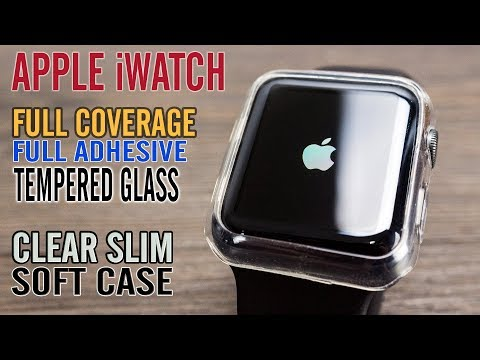 Apple iWatch Full Adhesive Full Coverage Tempered Glass and Soft Transparent Case - Accessories
