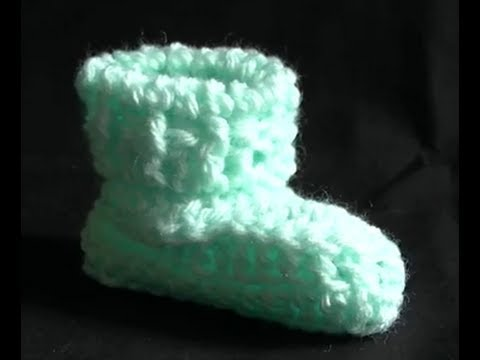 How to Crochet a Baby Bootie Part 1 of 2 - Cats One Piece Wonder Baby Booties