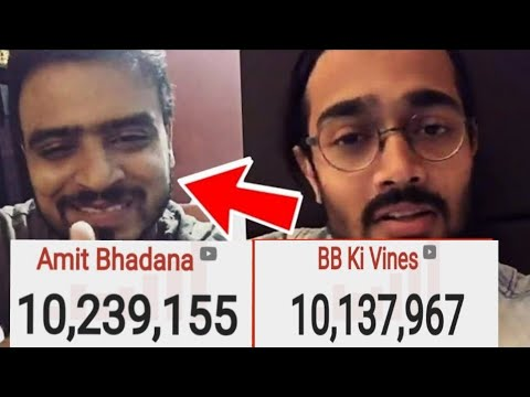Amit Bhadana Crosses BB Ki Vines, Becomes No.1 Indian YouTuber | Biggest Indian YouTuber | 10M Race