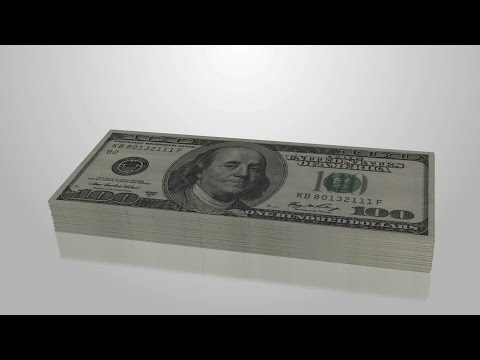 Increasing 100 dollar bill stack, income, investment symbol. Stock Footage