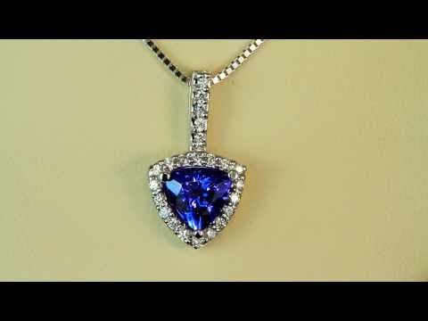 White Gold Tanzanite Pendant With Trilliant Tanzanite and Fine Diamonds