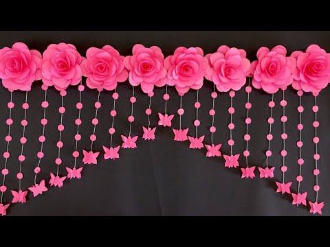 PAPER ROSE FLOWERS DOOR HANGING   PAPER FLOWERS DOOR HANGING TORAN