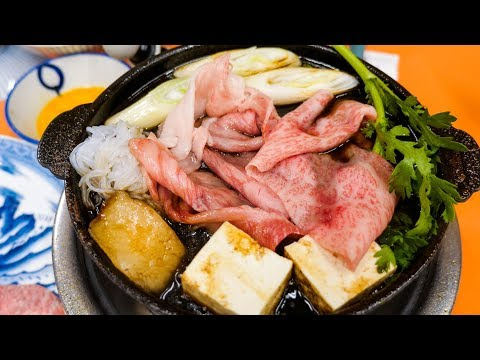 Japanese Sukiyaki - INSANELY MARBLED BEEF - Traditional 100 Year-Old Food in Tokyo, Japan!