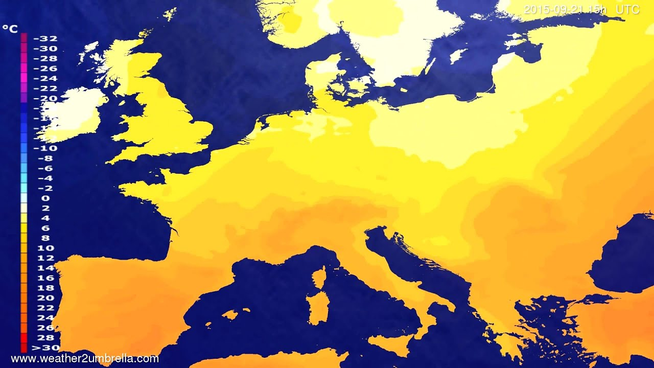 Temperature forecast Europe 2015-09-18