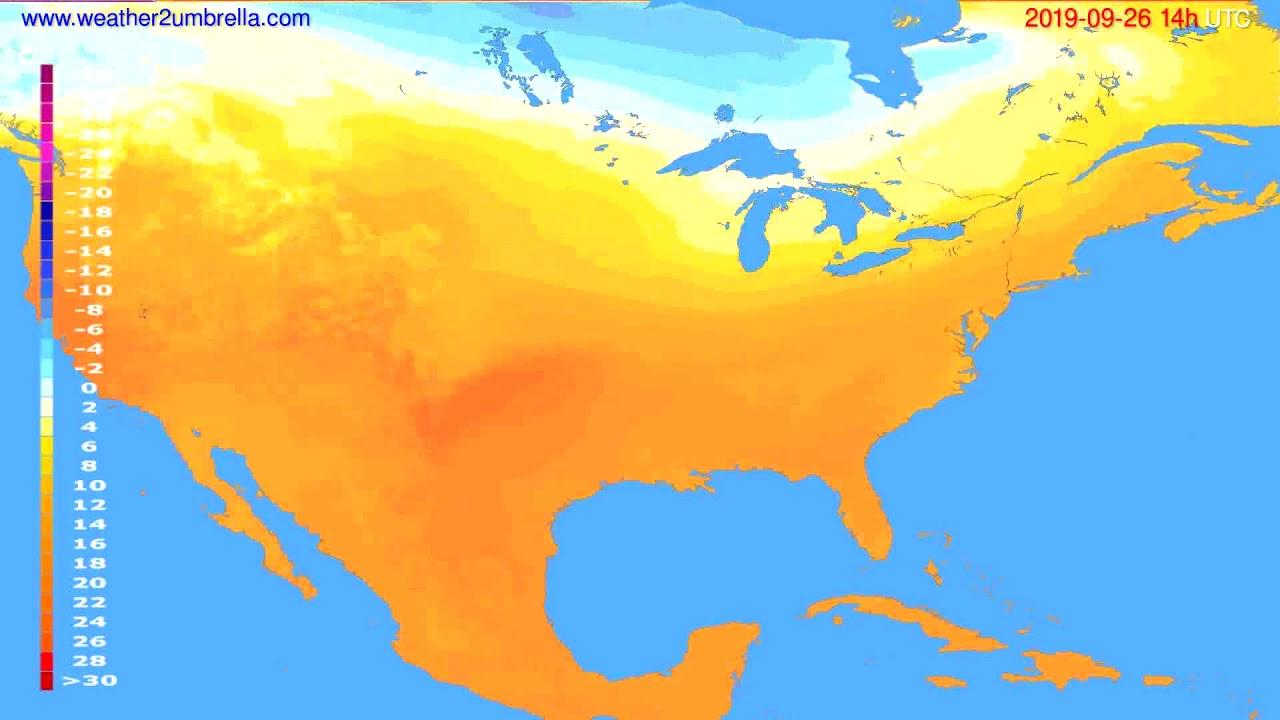Temperature forecast USA & Canada // modelrun: 00h UTC 2019-09-24
