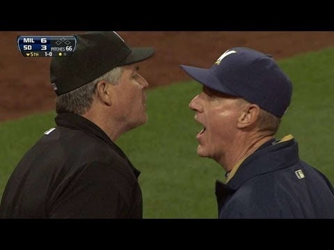 Roenicke - 4/23/13: Brewers manager Ron Roenicke is ejected in the fifth inning following a disagreement with the umpiring crew Check out http://MLB.com/video for more!...