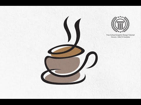 Cup Coffee Logo Design tutorial - How to design a cup cafe coffee logo in Adobe illustrator