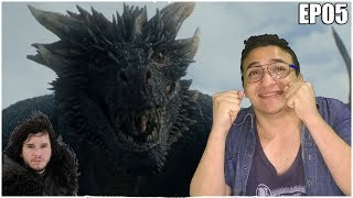 Game of Thrones 7 Temporada Episódio 5 Blood of the Dragon com Jon Snow pegando no Drogon e Daenerys Targaryen...