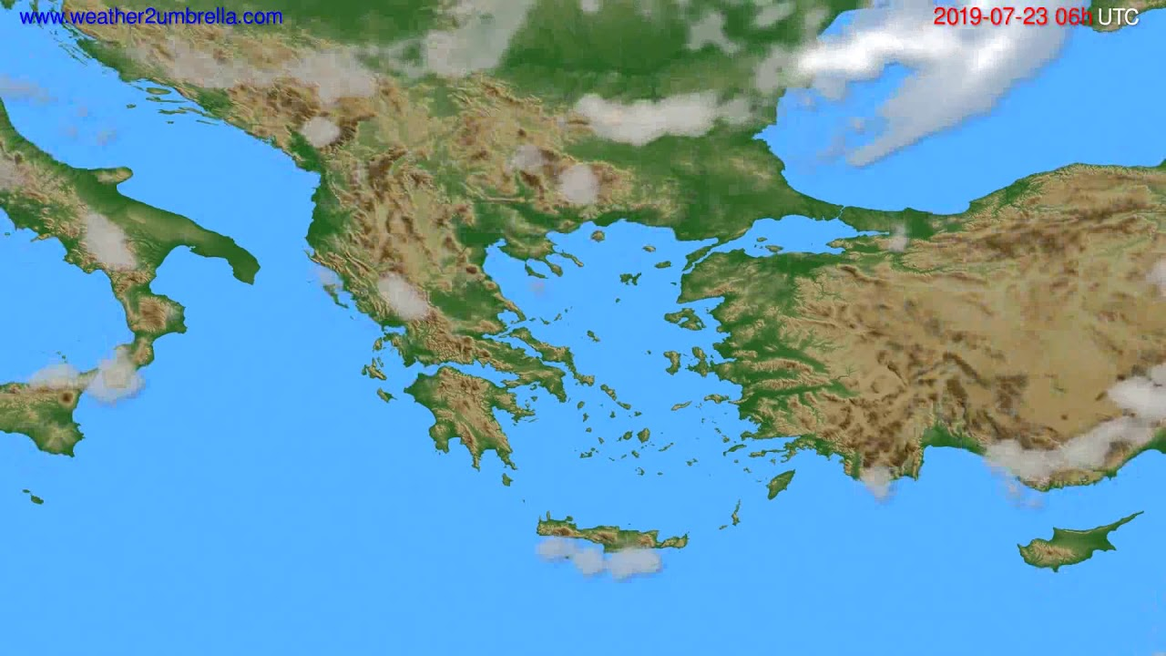 Cloud forecast Greece // modelrun: 12h UTC 2019-07-20