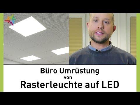 Umrüstung von Leuchtstoffröhren Rasterleuchte auf LED im Büro - TRLIUX Siella LED