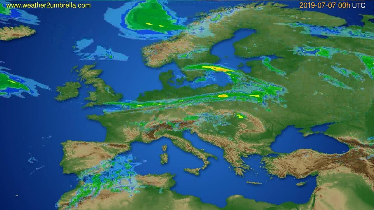 Radar forecast Europe // modelrun: 12h UTC 2019-07-06
