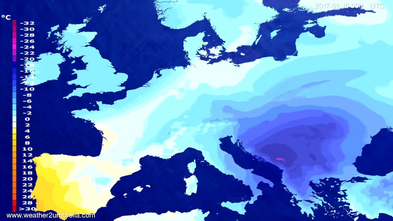 Temperature forecast Europe 2017-01-07