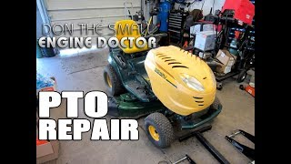 """In this video I show and repair a common issue that will cause your PTO switch to not work on your lawn tractor. This problem prevents your blades from turning.Switch is part #925-0417 from MTD or 33-083 from OregonUSA buyers buy here;https://discountonlineparts.com/search.php?s=+33-083+&x=13&y=10CANADIAN buyers contact me at donyboy73@yahoo.com to purchase directly from me.Help me make videos!http://patreon.com/donyboy73Follow me on Facebook; https://www.facebook.com/pages/Donybo...Twitter;https://twitter.com/donyboy73Instagram: http://instagram.com/donyboy73/GOOGLE+ https://plus.google.com/u/0/b/1016213...Due to factors beyond the control of DONYBOY73 """"The Small Engine Doctor"""", it cannot guarantee against unauthorized modifications of this information, or improper use of this information. DONYBOY73 """"The Small Engine Doctor"""" assumes no liability for property damage or injury incurred as a result of any of the information contained in this video. DONYBOY73 """"The Small Engine Doctor"""" recommends safe practices when working with power tools, hand tools, lifting tools, jack stands, electrical equipment, blunt instruments, chemicals, lubricants, or any other tools or equipment seen or implied in this video. Due to factors beyond the control of DONYBOY73 """"The Small Engine Doctor"""", no information contained in this video shall create any express or implied warranty or guarantee of any particular result. Any injury, damage or loss that may result from improper use of these tools, equipment, or the information contained in this video is the sole responsibility of the user and not DONYBOY73 """"The Small Engine Doctor"""".#DIY"""