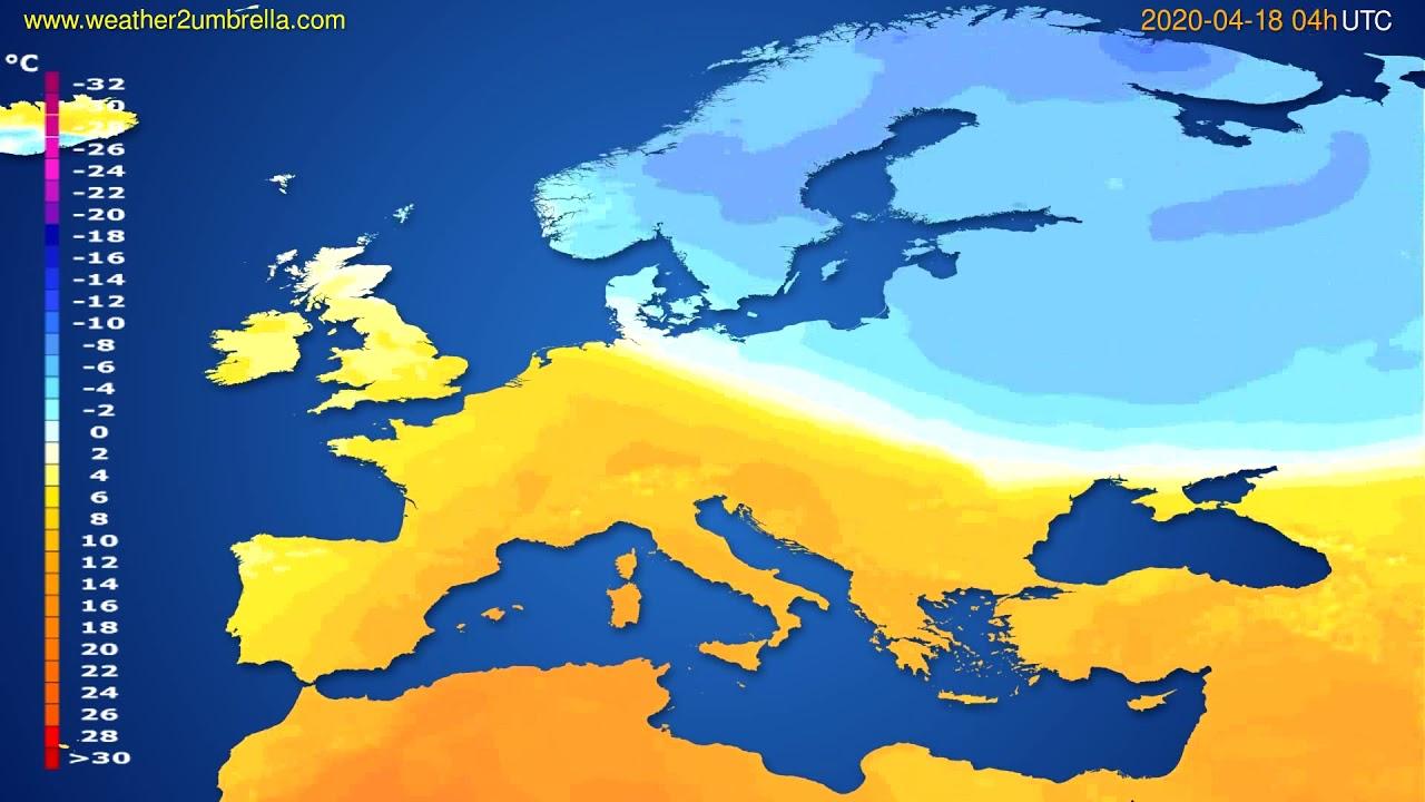 Temperature forecast Europe // modelrun: 12h UTC 2020-04-17